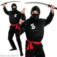 Adult Mens Black Ninja Warrior Samurai Kung Fu Fighter Fancy Dress Costume M/L