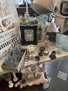Neu Deko Paket Bilderrahmen French Shabby chic Wanduhr Teelicht Vase