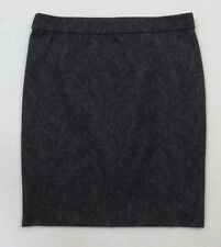 ELLE GRAY BLACK FLORAL LACE SEXY STRETCH FITTED STRAIGHT PENCIL SKIRT EUC 4 S/M