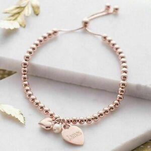 Rose Gold Slider Bracelet ENGRAVED Personalised Jewellery Birthday Gift FREEPOST
