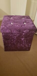 Crushed Velvet Diamante Ottoman Storage Box Folding Flat Seat Stool in Purple