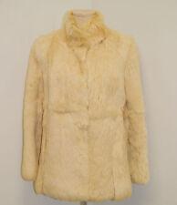 Vintage 70's 80's Ivory Tan Rabbit Fur Jacket Coat - Size 12 - Medium