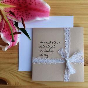 Wedding invitation handmade personalised blush DIY lace jute rustic eco shimmer
