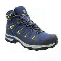 Salomon Women's X Ultra 3 Mid GTX Hiking Boots, Blue/Citron, Size 9.5
