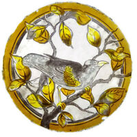 Victorian Antique Leaded Stained Glass Rondel Window HAND PAINTED Bird Leaves 12