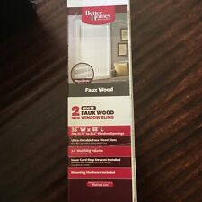"""2"""" White Faux Wood Textured Window Blinds 35"""" X 48"""" Better Homes And Gardens"""