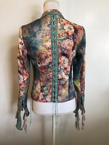 BOHO CHIC New York Floral Corset Jacket Small Lace Up Back Blazer