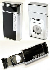 Pierre Cardin Cigar Lighter with Built-In Cutter - Black Lacquer & Chrome Finish