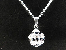 Silver Rhinestone Crystal Ball Black & White Rows Chain Necklace + Free Gift Bag