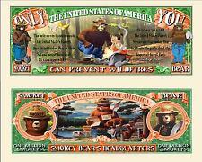 Smokey the Bear Million Dollar Bill Fake Funny Money Novelty Note + FREE SLEEVE