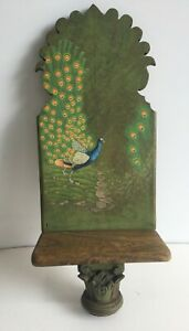 Distressed Wooden Handpainted Rustic Shelf Beautiful Indian Peacock Wall art