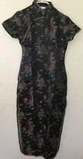 Vintage Chinese Party Dress Black / Gold Size S Uk 6 Brand New