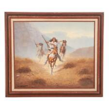 Herbert Herget Oil Painting on Canvas of American Western Scene 24 x 20.5 $$$