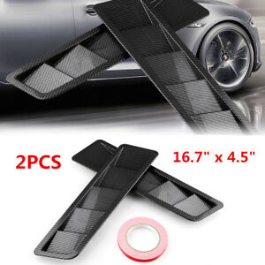 "16.7""x4.5"" Universal Hood Vent Louver Air Cooling Panel Trim Set Black Matte ABS"