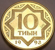 Gem Proof-Like Kazakhstan 1993 10 Tyin~1st Year For Any Coinage~Free Shipping
