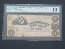 1861- $10 - T-28 Confederate State Of America Pmg 10 Very Good