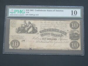 1861- $10 - T-28 CONFEDERATE STATE OF AMERICA PMG  10 VERY GOOD