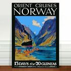 "Vintage Travel Poster Art ~ CANVAS PRINT 36x24"" ~ Orient Cruise Norway"