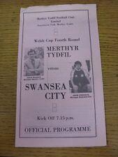 1980/1981 Merthyr Tydfil v Swansea City [Welsh Cup] (creased at top). Good condi