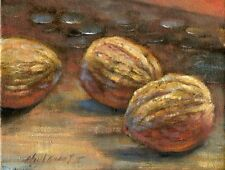 Walnuts with Coins  8x10 in. Original Oil on canvas Painting  HALL GROAT II