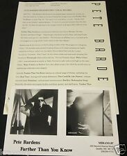 PETE BARDENS 'FURTHER THAN YOU KNOW' 1993 PRESS KIT--PHOTO--CAMEL