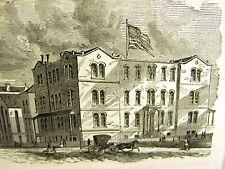 NURSERY & CHILD'S HOSPITAL Lexington 51 St 1873 MEDICAL Antique Engraving Matted