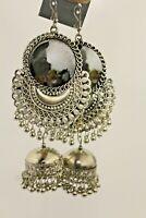 New Festival Tibetan silver Tribal hippie boho Mirror Dangle Vintage Earrings