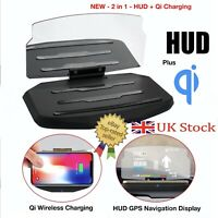 Car HUD GPS Head Up Display Screen + Qi Wireless Universal Phone Charger Holder
