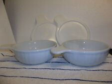 "(2) WHITE FLUTED STONEWARE GRAB IT BOWL/DISH 5 1/2"" X 2"" W/LIDS NICE!! unmarked"