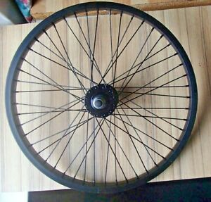 """ALL BLACK 40 SPOKE FRONT 20"""" ALLOY BMX WHEEL WITH 14mm AXLE AND NUTS RRP £49.95"""