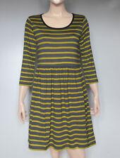 New Boden Johnnie b Girls Ochre & Dark Grey Stripe Jersey  Dress Age 15 - 16 yrs