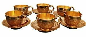 Cup & Saucer Utensil Set with 6 Cup & 6 Saucer Embrossed Handicrafts Brass