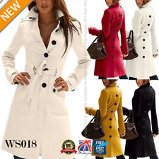 Womens Long Trench Coat Ladies Fashion Parka Jacket Warm Outwear Overcoat WS018