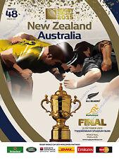 NUOVA Zelanda Gli All Blacks V Australia 2015 disposizioni finali PROG + COA GARANTITO ORIGINALE