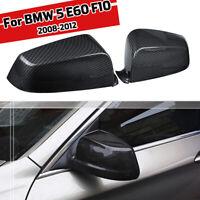 Pair Carbon Fiber Color Door Mirror Cap Cover For BMW 5 Series E60 F10 08-12