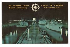 Vintage Postcard Panama Night Scene Miraflores Locks