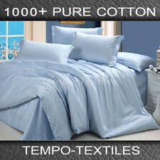 1000TC Real Egyptian Cotton Bed Linen Quilt Doona Duvet Set in BLUE QUEEN-