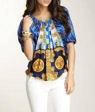 Voom by Joy Han Women's  Pierce 100% Silk Blouse Top Blue/ Multicolor Size M
