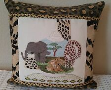 "WoW Finished Needlepoint Pillow African Animal Wildlife Elephant Lion 15"" Square"