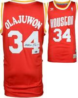 Hakeem Olajuwon Houston Rockets Autographed Red Swingman Jersey