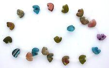 20 Individual Zuni Bear Fetish Figures Carved Multi Stone Bead Strand MSB17