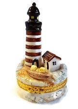 "Lighthouse Trinket Box Herco Ceramic Hinged 4"""