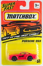 Matchbox MB 51 Porsche 959 Red Rage Silver Wheels New On Card 1995