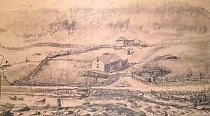 1884 CC SPEARNS ANTIQUE PENCIL DRAWING FOLK ART PRIMITIVE RURAL LANDSCAPE FARM