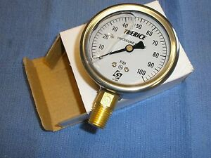 "100 PSI Stainless Gauge Air Water Pressure Liquid Filled Trerice D82LFB 2-1/2"""