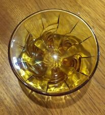 Amber Depression Glass 6 Footed Bowl With Swirl Pattern - 1930-50s