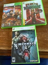 Xbox 360 3 Game Lot Bionic Commando Unreal LEGO Lord Of The Rings Tested.