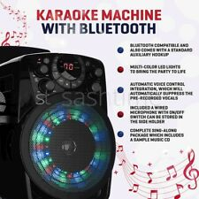 More details for portable bluetooth karaoke machine plays cdg discs inc mics led light song party