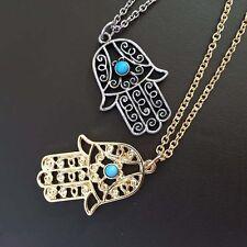 Women Palm Necklace Hamsa Fatima Choker Chain  Hand Pendant Jewelry Gift