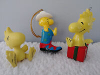 Woodstock Peanuts 1975 1982 2000 Rare Western Snoopy Christmas ornament collect